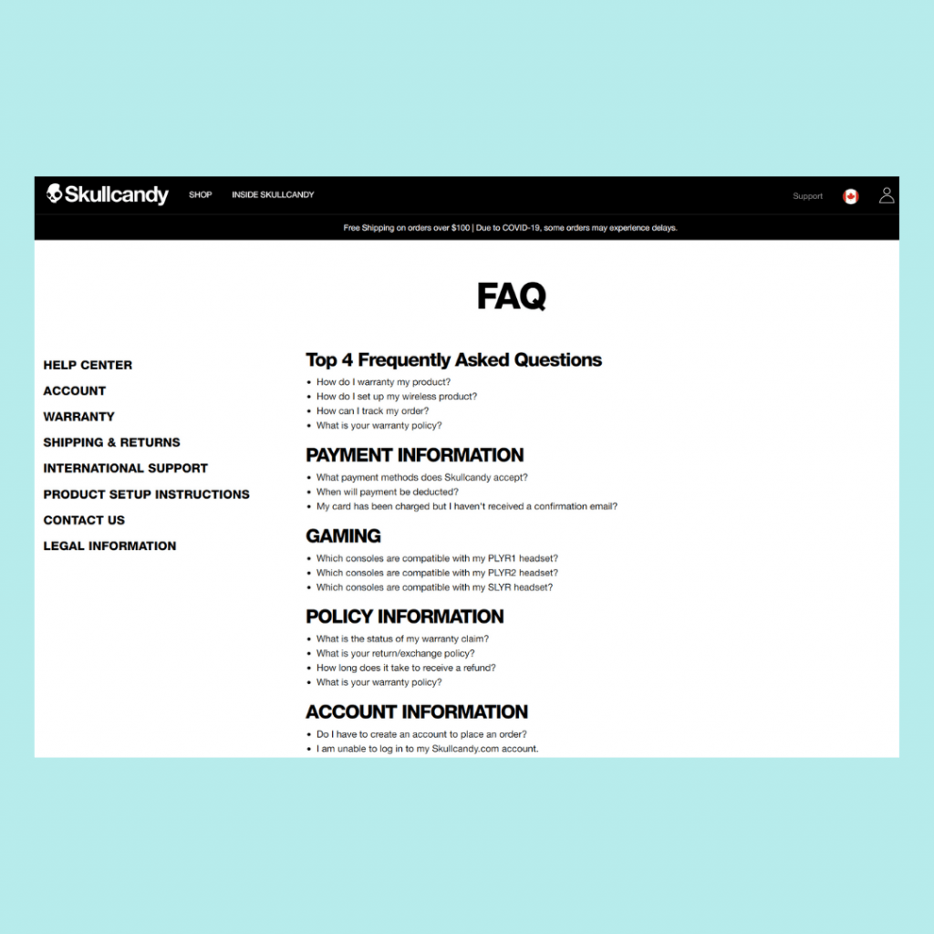 shopify FAQ Page Example
